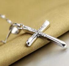 Women's 925 Sterling Silver Cross Elegant Crystal Pendant 18