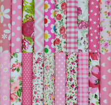50 X 4 INCH PATCHWORK FABRIC SQUARES REMNANTS SEWING CRAFT MATERIAL ** PINK MIX