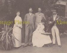 OLD PHOTO MUSICAL FAMILY GROUP WITH ZITHER & GUITAR UNIDENTIFIED LODGE HOUSE