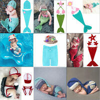 NewBorn Baby Girl Boy Crochet Knit Mermaid Costume Outfit Photo Photography Prop