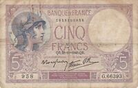 Paper Money - France - 5 Francs - 28-11-1940 - VG - P-4 - GD