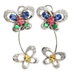 5.13 CT Multicolor Sapphire & 0.20 CT Diamonds in 18K Gold Butterfly Earrings