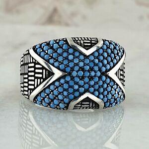xXx Solide 925 Sterling Silber Türkis Edelstein  Mens Ring Handgefertigt Ottoma