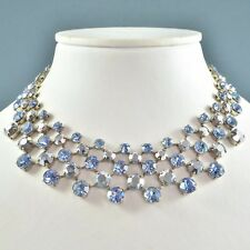 Vintage Necklace 1950s Silver Coated & Blue Crystal Silvertone Bridal Jewellery
