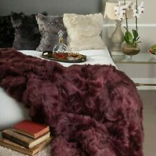 100% Tuscan Shearling Sheepskin Throw or Area Rug RRP £938 Bordeaux 170x225