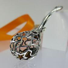 A164 Babyrassel Patengeschenk Geburt Taufe 925 Silber Schmuck Bernstein Perlen