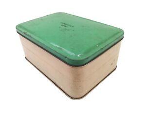 Vintage Sandwich Box Tin Green Lid