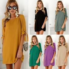 Women Mini Dress Long Beam Sleeve Round Neck Shirt Dresses Party Summer Charm B