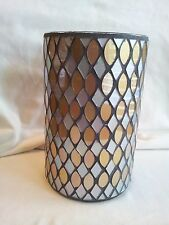 YANKEE CANDLE SILVER GOLD MOSAIC MIRROR LARGE JAR CANDLE HOLDER NEW IN BOX NIB