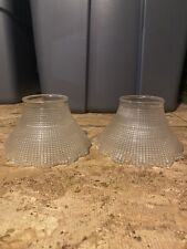 Pair Of Antique Signed Holophane Glass With 2 1/2 Fitters