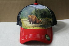 BEAR FOREST MOUNTAIN OUTDOOR SNAPBACK BASEBALL CAP HAT MESH BACK ( RED BILL )