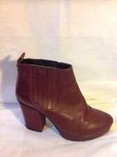 Ladies Maroon Ankle Leather Boots Size 40
