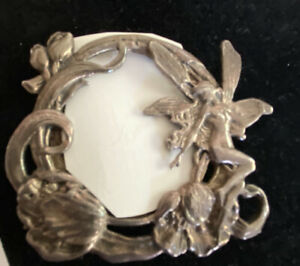Fairy Pewter Vintage Artsy Round Mini PICTURE FRAME Fairy Wings Rare Antique
