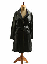 K-YEN Womens Citizen Fitted Soft Black Leather Coat Gold Trim Made In France M