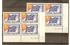 TIMBRES DE SERVICES CONSEIL DE L'EUROPE YVERT N° 34 ** BLOCS DE 4 COINS DATES
