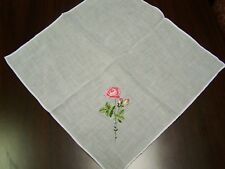 Vintage White Ladies Handkerchief with Pink Embroidered Rose