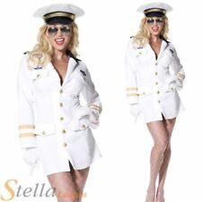 Ladies White Top Gun Officer Fancy Dress Costume 80s TV Aviator Outfit + Hat
