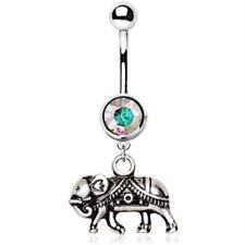 DECORATIVE ELEPHANT BELLY RING 14G NAVEL PIERCING BODY JEWELRY (316L STEEL)