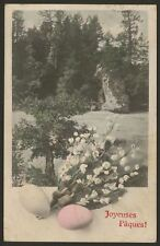 Joyeuses Pâques. Easter Eggs. Happy Easter. France. Early French Easter Postcard
