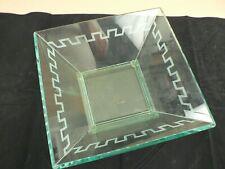 Modern glass square bowl etched Roman design border Studio Silversmiths Lt Green