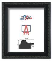 "US Art Frames 1.37"" Black Victorian Ornate Solid Hard Wood Picture Frame S-Lots"