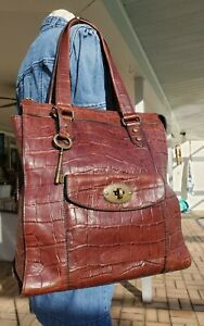 Fossil Vintage Reissue Brown Leather Croc Work Tote XL Bag Purse