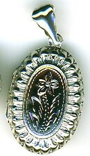 925 Sterling Silver Oval Locket with 1 plain Side and 1 Flower side 40mm 1.1/2