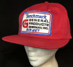 Vtg General Products Snapback Hat Big Patch K Brand USA Cap Benchmark Air Jet