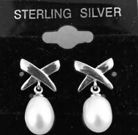 925 Sterling Silver Pierced Earrings  An X With A Dangle Pearl ~ Authentic
