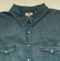 LEVI'S DENIM SHIRT LADIES REGULAR FIT SNAPS 1X MID BLUE STRAUSS LSHT607