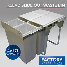68L Slide Rubbish Quad Waste Bin - Pull Out Concealed Kitchen Four Compartment