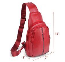 West End Red Crossbody Leather Sling Bag Backpack with Adjustable Strap
