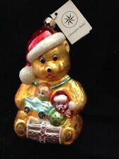 "Christopher Radko Christmas Ornament Teddy Bear Santa w Toys 6"" Vtg Mwt"