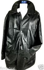 London Fog Men's Leather  Four Button Black Three Quarter Jacket Size Medium.