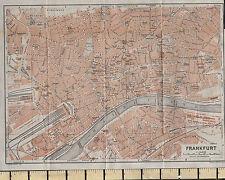 1925 GERMAN MAP ~ FRANKFURT CITY PLAN ENVIRONS FLUSS STATION GARDENS HOSPITAL