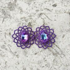 f4aaa12e1 With Swarovski Crystals Chandelier New Exquisite Purple Lace Earrings