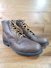 Vintage Knapp Brown Leather Steel Toe Ankle Work Boots Oil Resisting Size 9.5 D