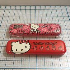 New (2) Sanrio HELLO KITTY Tin Pencil Cases (1 red & 1 pink) -School Pencil Box