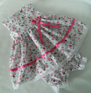"""WHITE with PINK FLOWERS DRESS & PANTS for 16"""" BABY BORN ~ TINY TEARS~ FIRST LOVE"""