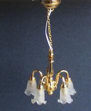 SCALA 1:12 LED di lavoro 5 braccio verso il basso Tulip Ombra Lampadario Casa delle Bambole Luce 6025