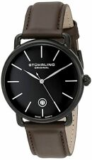 Stuhrling Original 768.03 Swiss Quartz Date Brown Leather Strap Mens Watch