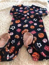 Garanimals Boys Navy Blue Basketball Football Fleece Long Sleeve Pajamas 3T