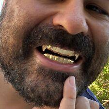 Vampire Grillz Set Gold Finish Dracula Tooth Top Bottom Fang Teeth Hip Hop Fangs