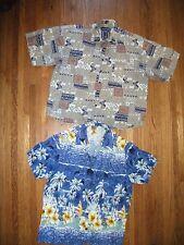 2 Mens L Hawaiian Shirts Van Heusen Beige Tribal In Gear Blue Hibiscus Sailboat