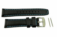Luminox watch band  Black leather 20mm strap 7250 lady's blue stitches