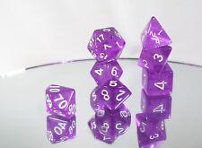 Purple Translucent 7Die Polyhedral Dice by BrycesDice RPG Magic D&D Unique Rare
