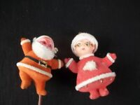 Vintage Flocked Mrs Claus Ornament and Santa Claus On A Stick
