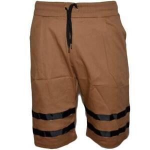 Pantalone Corto Uomo Bermuda Pantaloncini Tuta Bicolore Cuoio E Nero Molla Moda