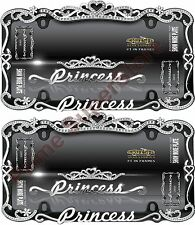 Chrome/Black Metal Princess Crown License Plate Frame Car auto Truck Tag Holder