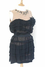LANVIN H&M BLACK SILK RUFFLE TIERED JEWEL COCKTAIL PARTY DRESS UK 12